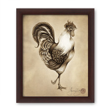 Prints : Rooster 8X10 Framed