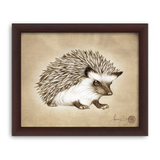 Prints : Hedgehog #1, 8X10 Framed