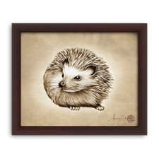 Prints : Hedgehog #2, 8X10 Framed