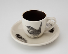 Espresso Cup and Saucer: Carolina Wren