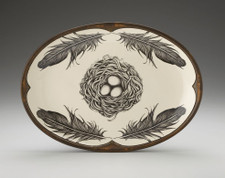 Small Oval Platter: Black Bird Nest