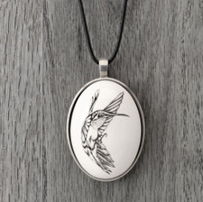 Ceramic Pendant: Hummingbird #3