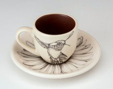 Espresso Cup and Saucer: Hummingbird #2