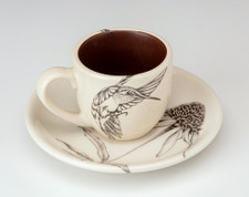 Espresso Cup and Saucer: Hummingbird #3