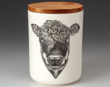 Medium Canister with Lid: Hereford Cow