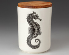 Medium Canister with Lid: Seahorse