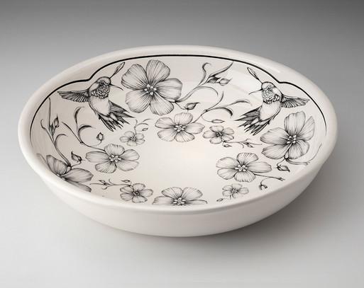 Pasta Bowl: Hummingbird in White
