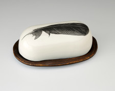 Butter Dish: Crow Feather