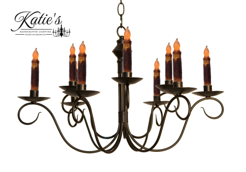 Katie's Handcrafted Lighting Adams 2-Tier Candle Chandelier Finished In Aged Black Finish