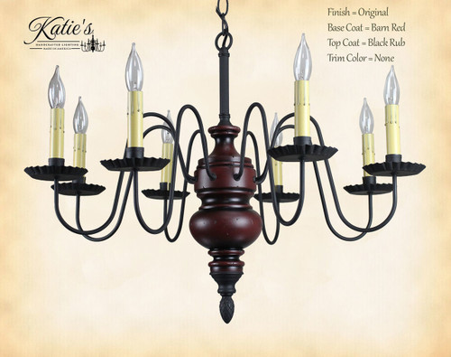 Katie's Handcrafted Lighting Frederick Wood Chandelier Pictured In Original Finish: Base Coat Color = Barn Red, Top Coat Color = Black Rub, Trim Color = None