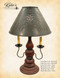 """Katie's Handcrafted Lighting 2 Arm Liberty Lamp Pictured In: Base Coat Color = Barn Red, Top Coat Color = Black Rub, Trim Color = None, Pictured With 15"""" Willow Shade In Aged Black"""