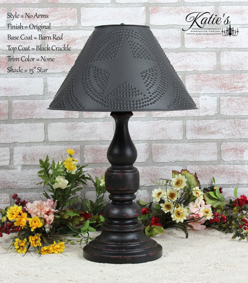 """Katie's Handcrafted Lighting No Arm Liberty Lamp Pictured In: Base Coat Color = Barn Red, Top Coat Color = Black Crackle, Trim Color = None, Pictured With 15"""" Star Shade In Aged Black"""