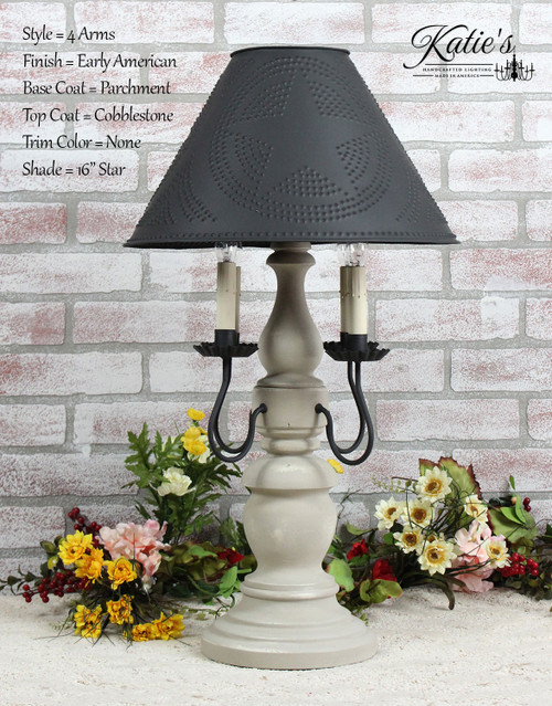 """Katie's Handcrafted Lighting 4 Arm Large Liberty Lamp Pictured In Early American Finish: Base Coat Color = Parchment, Top Coat Color = Cobblestone, Trim Color = None, Shade = 16"""" Star Shade In Aged Black"""