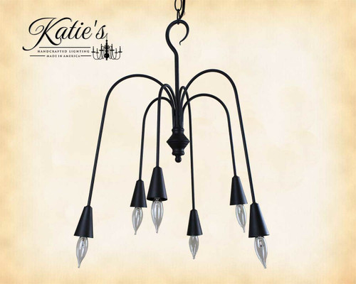 Beacon Falls 6 Arm Metal Chandelier Finished In Aged Black, Handcrafted In The USA by Katie's Handcrafted Lighting