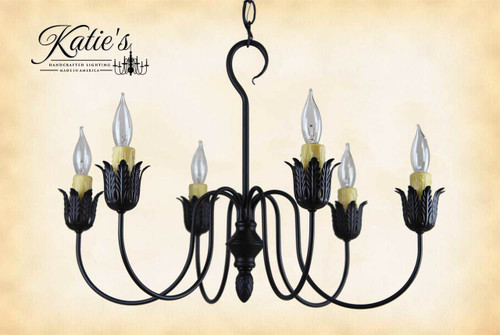 Farmhouse Chandelier in Aged Black Finish, Handcrafted In The USA by Katie's Handcrafted Lighting