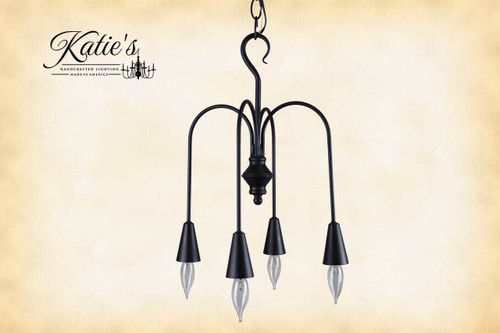 Beacon Falls 4 Arm Metal Chandelier Finished In Aged Black, Handcrafted In The USA by Katie's Handcrafted Lighting