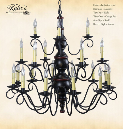 Katie's Handcrafted Lighting Elders 3 Tier Wood Chandelier Pictured In: Early American Finish, Base Coat Color = Massicot, Top Coat Color = Black, Trim Color = Cottage Red