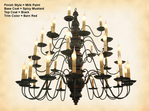 Katie's Handcrafted Lighting Kingston 4 Tier Wood Chandelier Pictured In: Original Finish, Base Coat Color = Spicy Mustard, Top Coat Color = Black Crackle, Trim Color = Barn Red