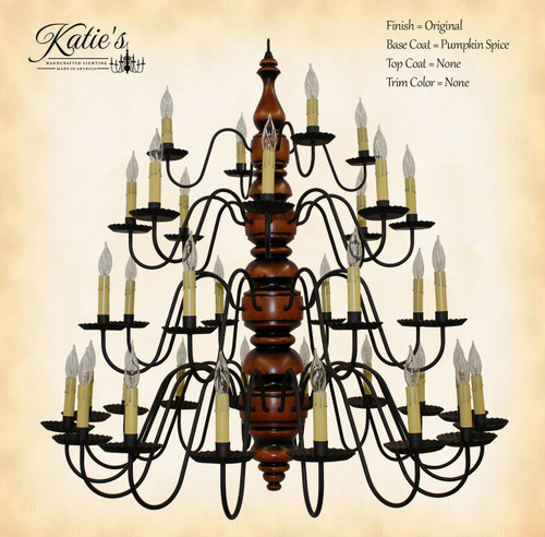Katie's Handcrafted Lighting Kingston 4 Tier Wood Chandelier Pictured In: Original Finish, Base Coat Color = Pumpkin Spice, Top Coat Color = None, Trim Color = None