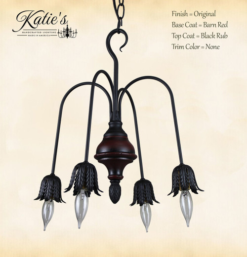 Beacon Falls Wood 4 Arm Chandelier Finished In Barn Red, Black Rub, No Trim, Handcrafted In The USA by Katie's Handcrafted Lighting