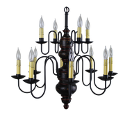 Katie's Handcrafted Lighting Chesapeake 2-Tier Wood Chandelier Pictured In Original Finish: Base Coat Color = Spicy Mustard, Top Coat Color = Black Crackle, Trim Color = Barn Red