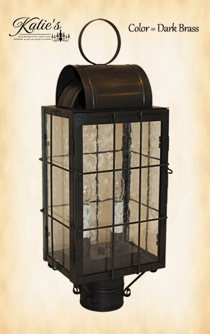 Katie's Handcrafted Lighting Danbury Outdoor Post Lantern - Dark Brass