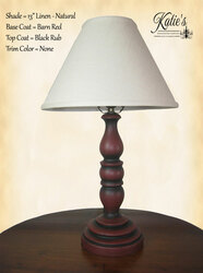 "Katie's Abby Lamp, Base Coat Barn Red, Top Coat Black Rub, Trim Color None, Optional 13"" Linen Shade In Natural"