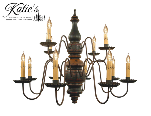 Katie's Handcrafted Lighting Charleston Chandelier Pictured In: Base Coat Color = Barn Red, Top Coat Color = Black Crackle, Trim Color = Spicy Mustard