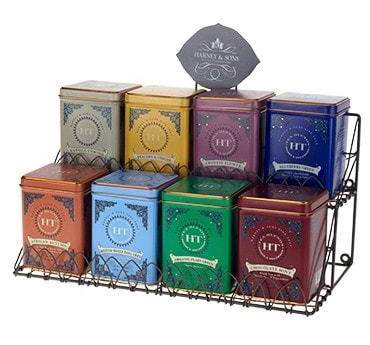 Harney & Sons Fine Teas placed in a rack