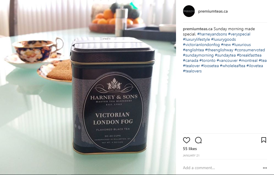 Victorian London Fog Tea by Harney & Sons - Instagram