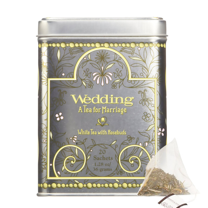 Harney & Sons Wedding Tea Contains 20 silken Sachets. Mutan White tea is infused with a hint of lemon-vanilla, and then pink rosebuds are added, to represent the bloom of new love.