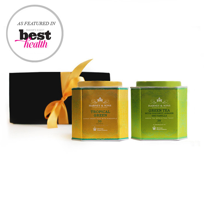 Harney & Sons  Royal Green Teas Gift Set that includes two beautiful tins with Tropical Green Tea and Coconut, Ginger and Vanilla (30 sachets each). The set is packages in a black gift box with a golden ribbon. It is ready to present.
