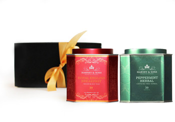 Morning & Night Teas Gift Set combines a morning Royal English Breakfast brew with Peppermint Herbal tisane to enjoy in the afternoon.