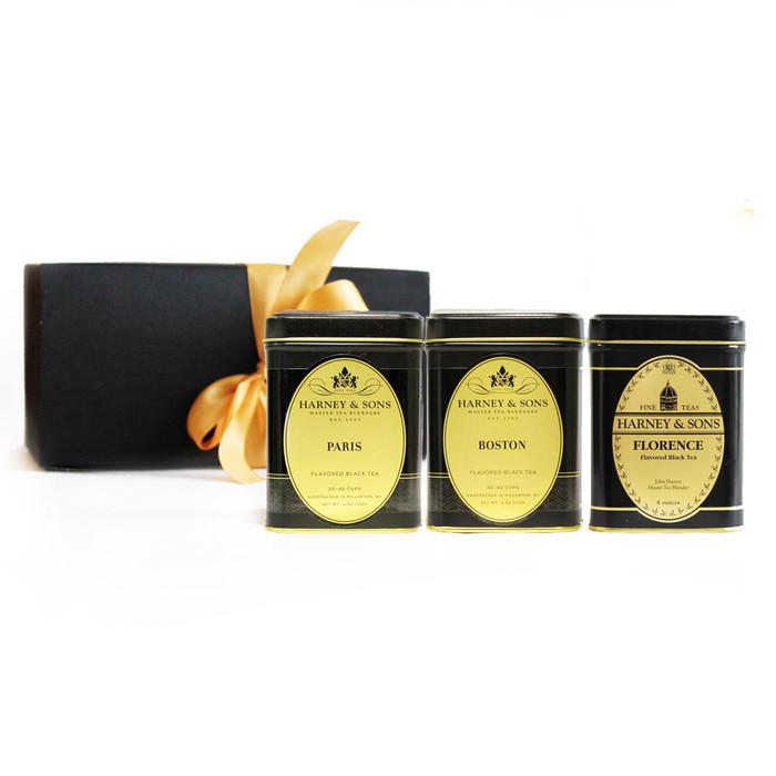 This tea gift set includes: Paris 4 oz, Florence 4 oz, Boston 4 oz loose teas.