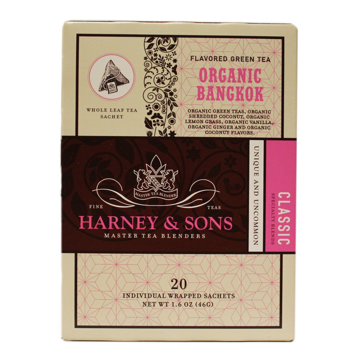 Harney & Sons Bangkok  Tea -The rich flavors of Thailand inspired this tasty blend. It is a combination of green tea, lemongrass, vanilla, coconut and ginger.