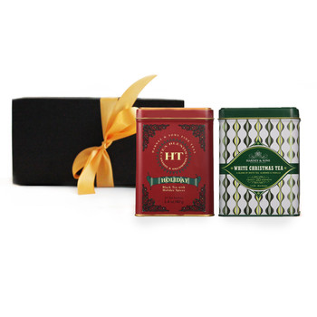 Two holiday teas packaged in an elegant gift box for the perfect holiday gift.