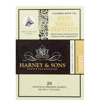 Harney & Sons White Vanilla Grapefruit Tea 20 Wrapped Sachets