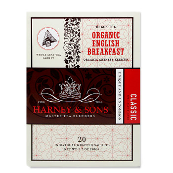Harney & Sons Organic English Breakfast  20 Wrapped Sachets