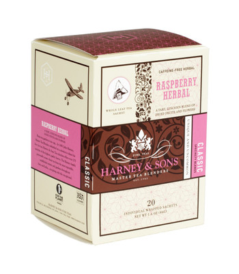 Harney & Sons Raspberry Herbal 20 Wrapped Sachets