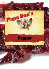 Papa Dan's Steak Cut Black Pepper is an Old West Style Smoked and salt-cured. Tradional thick cut strips of beef with fresh cracked black pepper sprinkled on for added flavor.