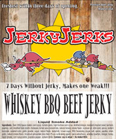 "A Touch of bourbon flavoring gives our Premium Whiskey Jerky a sweet and Unique, Satisfying taste. This Jerky is made from Prime Top Sirloin cut into ""thin & tender"" slabs.  A Top Seller and One of my Favorites."