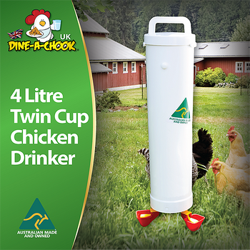 Chicken drinker with two lubing drinker cups