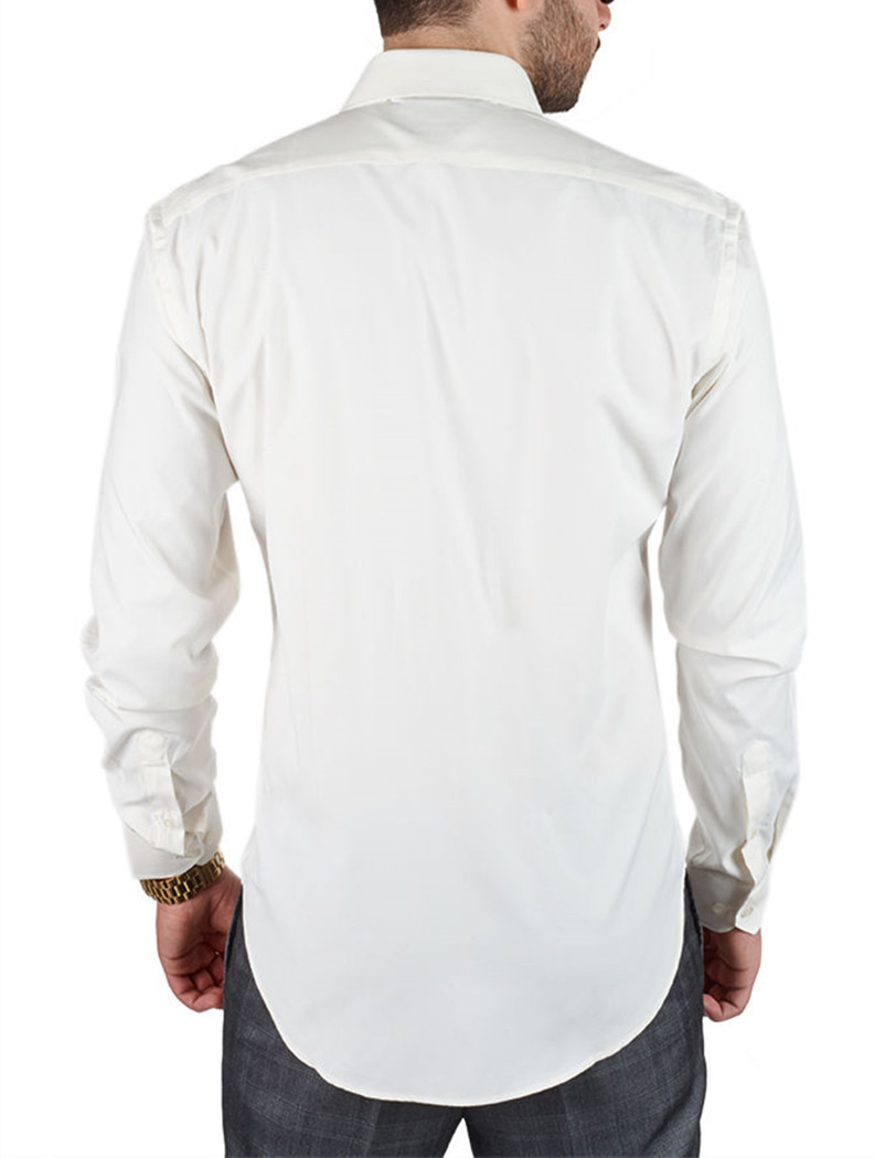 Off White Mens Solid Slim Fit Amanti Convertible Cuff Dress Shirt