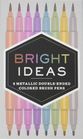 Bright Ideas: 8 Metallic Double-Ended Colored Brush Pens ((Dual Brush Pens, Brush Pens for Lettering, Brush Pens with Dual Tips)) (Miniature Edition) by Chronicle Books, 9781452163864