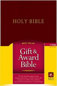 Gift and Award Bible NLT (Red Letter, Imitation Leather, Burgundy/maroon) by , 9781414302072