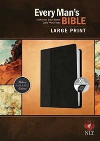 Every Man's Bible NLT, Large Print, TuTone (LeatherLike, Black/Onyx, Indexed) by Stephen Arterburn, Dean Merrill, 9781496433572