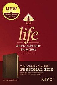 NIV Life Application Study Bible, Third Edition, Personal Size (LeatherLike, Dark Brown/Brown) by , 9781496440136