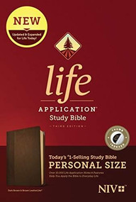 NIV Life Application Study Bible, Third Edition, Personal Size (LeatherLike, Dark Brown/Brown, Indexed) by , 9781496440143