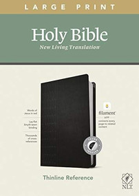 NLT Large Print Thinline Reference Bible, Filament Enabled Edition (Red Letter, LeatherLike, Cross Grip Black, Indexed) by , 9781496445346