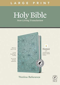 NLT Large Print Thinline Reference Bible, Filament Enabled Edition (Red Letter, LeatherLike, Floral Leaf Teal, Indexed) by , 9781496445353